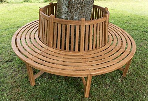 CLP Baumbank NILA aus massivem Teakholz I Gartenbank mit bis zu sechs Sitzplätzen I Naturbelassene Holzbank mit Rückenlehne Braun