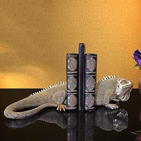 Du lijun 2016 Estudio europeo de oficina de la lagarto retro resina sujetalibros figuras sujetalibros libro decoración decoración del hogar , 40*12*18