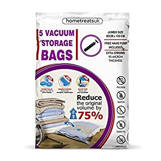 Space Saver Vacuum Storage Bags with Free Hand-Pump, 3 Sizes For Clothes Bedding, Duvets, Linen Home Storage Organisation (50cm x 70cm)