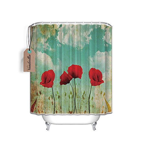84-Inch-by-72-Inch Red Poppies Green Leaves Shower Curtain,Bathroom Accessories
