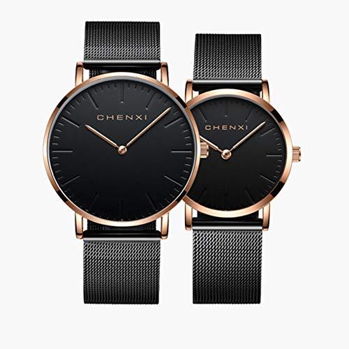 Herren- und Damenuhren Paar Uhr Quarzuhr für Paare Edelstahl Romantische Paarung Valentinstag Romantik 2-teiliges Set Beobachten,C