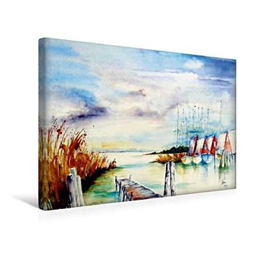 Calvendo Premium Textil-Leinwand 45 cm x 30 cm Quer, Am Bodden   Wandbild, Bild auf Keilrahmen, Fertigbild auf Echter Leinwand, Leinwanddruck: Ostsee-Idylle Natur Natur