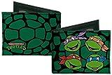 Buckle Down Men's Canvas Classic Tmnt Turtle Faces Black/Gree Bi-Fold Wallet, Multi, One