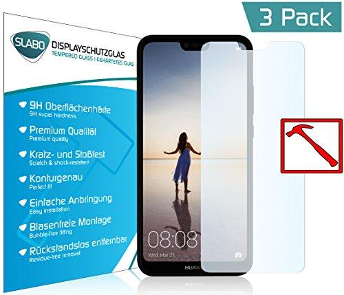 Slabo 3 x Premium Panzerglasfolie für Huawei P20 Lite Panzerfolie Schutzfolie Echtglas Folie Tempered Glass KLAR 9H Hartglas