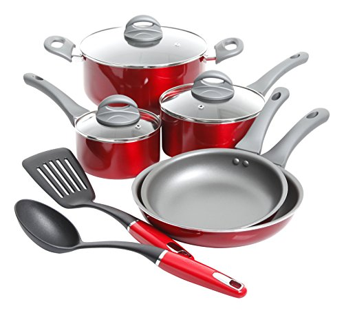 Oster Herscher 10pc Non-Stick Aluminum Cookware Set, Translucent Red