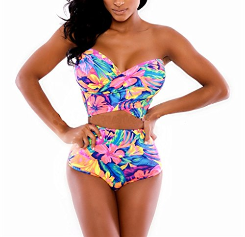 Beach Sexy Triangle Top (Swallowuk Damen Sexy Push-Up Triangle Bademode Böhme Strand Badeanzug Blumen Druck Bikini-Set (L))
