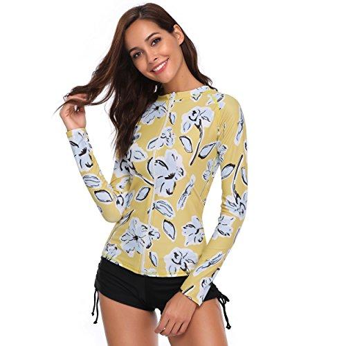 Plus Größe Badeanzug Vertuschen (Caracilia Frauen UPF 50+ Reißverschluss vorne Langarm Top Rashguard Badeanzug Schwimmen Shirt (4XL(EU48), F-16))
