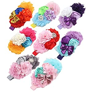 BESTIM INCUK 8-Pack Assorted-Color Baby Girls Flower Headband Rose Sequins Bow-knot Headwears