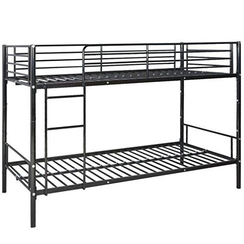 vidaXL Cadre de lit superposé pour enfants 200 x 90 cm en métal Noir Lit enfant