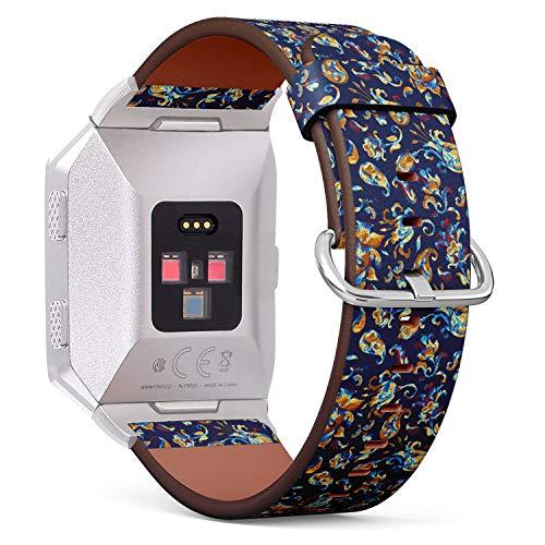 Art-Strap Kompatibel mit für Fitbit Ionic - Uhrenarmband Ersatzarmbänder Lederarmband mit Edelstahl-Verschluss und Adapter (Paisley-Aquarell-Blumenfliese) Paisley Boys Band