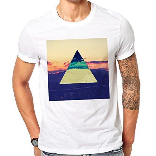 Illuminati Triangle Art Majestic Square Nature Herren T-Shirt Weiß