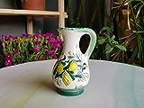 Oliera da tavola in ceramica siciliana. Bottiglia per l'olio in ceramica artistica decorata a mano con limoni. Orcio di ceramica. Le ceramiche di Ketty Messina.