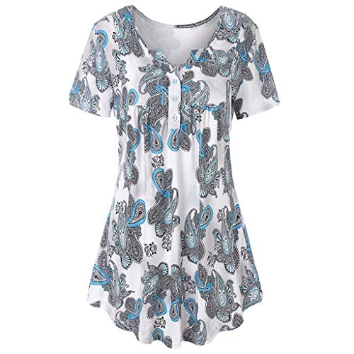 DIPOLA Damen Kurzarm T-Shirt mit Knopfdruck Top Bedruckte Tops Damen Casual Flare Long Top Shirt