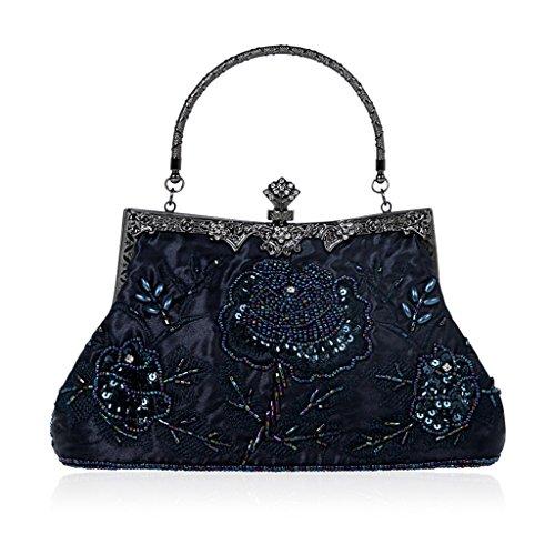 Cuigu Abendtasche - Perlen Floral Clutch Bag, Bankett Tasche Retro Handtasche für Party Hochzeit Prom Abendveranstaltungen, für Damen (Blau) - Perlen-geldbörse Handtasche Tasche
