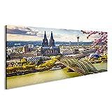 islandburner Bild Bilder auf Leinwand Luftaufnahme von Köln im Frühjahr, Deutschland Wandbild Leinwandbild Poster DWS