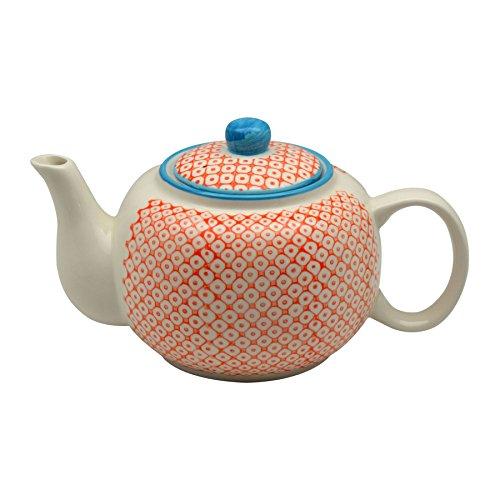 Théière en porcelaine ornée de motifs - 820 ml - imprimé orange