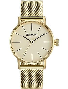 Gigandet Damen-Armbanduhr Minimalism Quarz Uhr Analog Milanaise Edelstahlarmband Gold G43-021