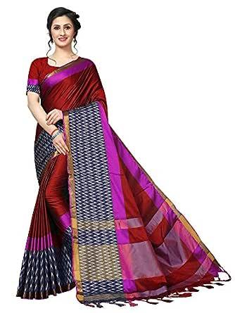 TryMode Womens Cotton Silk Saree (Red)