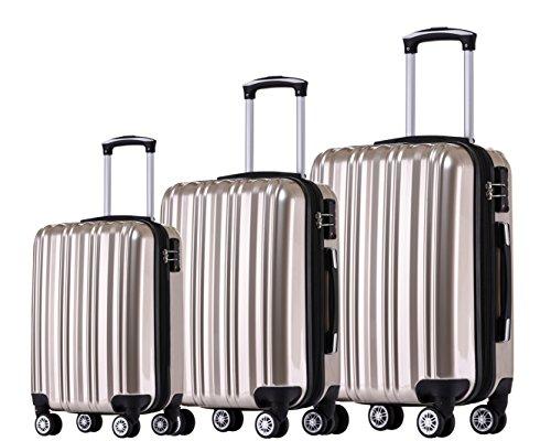 Münicase- Hartschalen Koffer Reisekoffer Trolley Rollkoffer Polycarbonat TSA-Schloß Kofferset Gepäckset (Champagner, 3tlg. Kofferset)