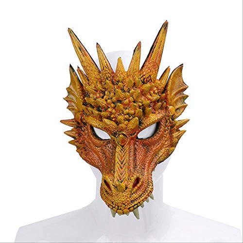 Wbdd Maske 2019 Neueste Ankunft Mardi Gras Halloween Karneval Party Pu Schaum 3D Tier Drachen Maske Chinesischen Stil Drachen Beängstigend Beängstigend Maske gelb (Slipknot Masken 2019)