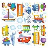 dekodino® Adesivo murale auto, navi e aerei set vivaismo decoro