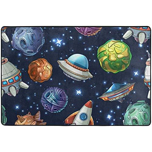 Saudade House Area Rugs Planetas Nave Espacial Cohete Estrella De Dibujos Animados Galaxy Área Alfombra...