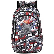 Super moderno unisex nailon escuela mochila para portátil bolsa para adolescente niñas y niños Cool deportes mochila Bolsa de regalo de Navidad bolsa de estudiante de camuflaje mochila de viaje, hombre, rojo, large