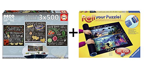 Pack Puzzles Educa 17094. Lily & Val. 3 x 500 piezas + Tapete universal Puzzle Roll Ravensburger