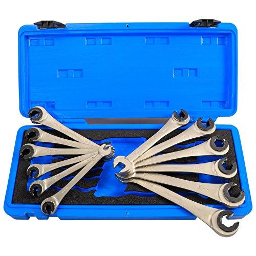 Haskyy 12tlg. offenes Ratschenschlüsselset Ratschenschlüssel Set Maulringschlüssel Bremsleitungsschlüssel mit Ratschefunktion