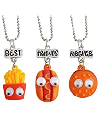 Hexawata Best Friends Forever Hamburger Hot Dog Friendship Necklaces Set Of 3