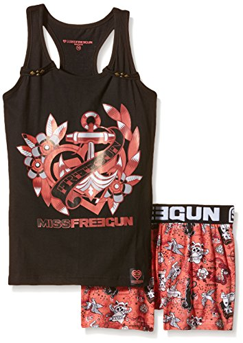 freegun-tatou-ensemble-de-pyjama-imprime-fille-noir-noir-corail-fr-10-ans-taille-fabricant-10-ans