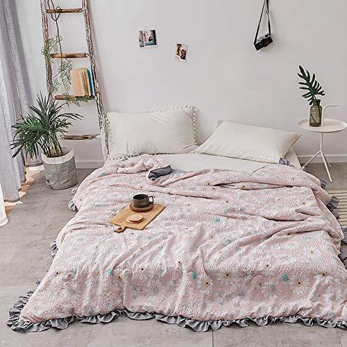 TYX HOME Daisy Pattern Duvet Twill Bedding Mädchen kleine frische gedruckte gekräuselte Sommer Klimaanlage Quilt Thin,Pink,180 * 220CM - Daisy-duvet-set