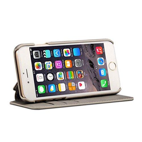 iPhone 7 & iPhone 8 Custodia, Airart Flip Custodia Case Pelle Portafoglio Progettazione [Slot Per Schede], Ultra Sottile Fit Cover con [Chiusura Magnetica] e [Stand Funzione] 4.7, Marrone Chiaro Grigio