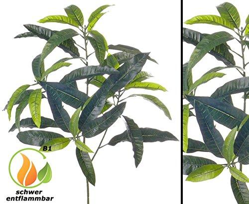 Mangobaum Zweig mit unterschiedlich grünen Blättern und einer Gesamtlänge inkl. Stiel ca. 70cm, schwer entflammbar – Kunstpflanze Kunstbaum künstliche Bäume Kunstbäume