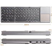 LinDon-Tech Tastiera Bluetooth senza fili Ricaricabile Tri-pieghevole con Touchpad per iOS, Android, Windows, Tablet, Smartphone, PC (QWERTY)