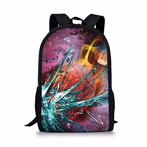 Gao's Jungen Rucksack Basketball Funny Pattern 17 Zoll Kinder Bookbags Outdoor Travel Schultasche für die Grundschule -