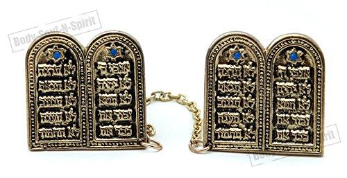 Goldene Tallit Clips DIE ZEHN GEBOTE Judaica Zubehör Geschenkidee aus Israel