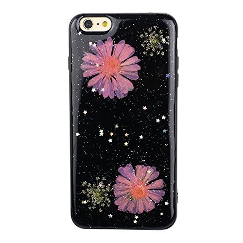 iPhone 6S Plus Noir Souple Coque avec Fleurs séchées, iPhone 6 Plus Arrière Etui, Moon mood® Ultra Mince Flexible TPU Silicone Etui Noir Coque avec Vraie Fleur pour Apple iPhone 6 Plus Téléphone Coqui Fleur-6