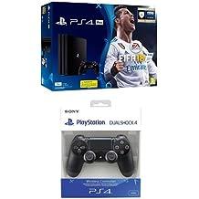 PlayStation 4 Pro (PS4) - Consola de 1 TB + FIFA 18 + Sony - Dualshock 4 V2 Mando Inalámbrico, Color Negro V2 (PS4)