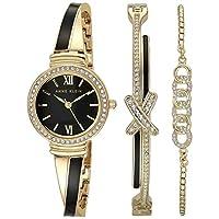 Anne Klein Women's Swarovski Crystal Accented Bangle Watch and Bracelet Set, AK/3572 Gold/Black