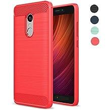 "Funda Xiaomi Redmi Note 4, Amytech Redmi Note 4 Funda Gel de Silicona Redmi Note 4 Carcasa Fibra de Carbono Funda para Redmi Note 4 5.5"" (Rojo)"