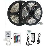 Minger Ruban LED Lumière 2x5M 10 Mètres(32.8 ft) 3528 SMD 300 LEDs RVB/RGB LED Bande Kit d'éclairage Non Étanche, Idéal pour Décorations de Maison, Cuisine, Bricolage et TV Arrière
