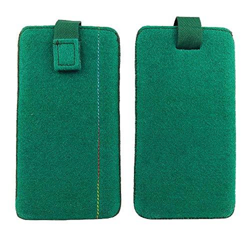 handy-point 5,6 - 6,4 Zoll Filztasche Handytasche Handyhülle Tasche Hülle Schutzülle aus Filz für LG V20, LG Stylus 2, Lenovo Moto X Style, HTC U Ultra, Xiaomi Mi 5S Plus, Mi Mix, Nokia 8, Asus ZenFon Grün dunkel