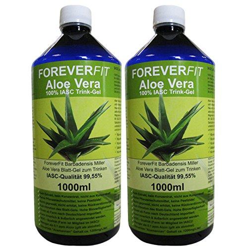 Forever Fit Aloe Vera Trinkgel 100% IASC 2 x 1000ml = 2 Liter Diät Kur #30231 | 100% Barbadensis Miller Blattgel UNVERDÜNNT | KEIN SAFT. KEIN Konzentrat | OHNE künstliche Vitamine | Acemannan bis 1200mg/Liter.