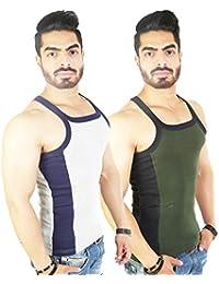 Zimfit Men's Gym Vest 112(Grey_Green)
