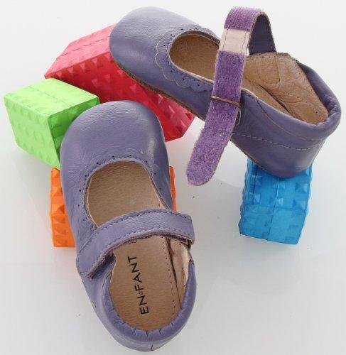 EN-FANT fille chaussures babies scratch en cuir, argent, taille 19, 810102A-01 lilas