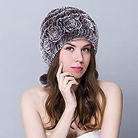 MFHZYS Sombrero de Invierno para Mujer Gorras y Sombreros de Piel de Conejo  Rex Floral con a1001c2740b