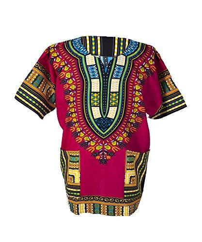 Rasta Kostüm - Lofbaz - Unisex Dashiki - Traditionelles Oberteil mit afrikanischem Druck XL Rosa