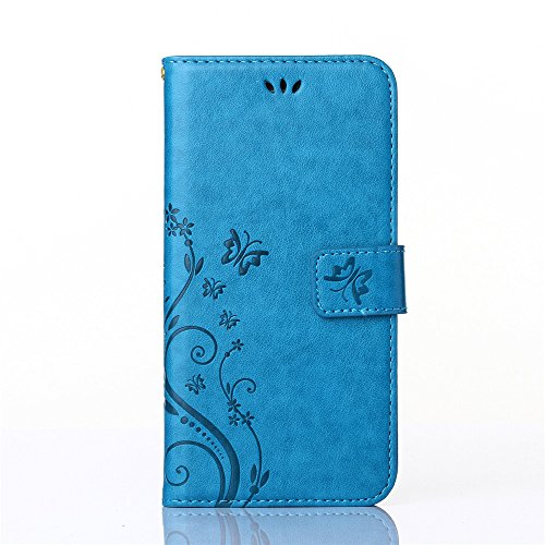 PU-Leder Schmetterling Muster Brieftasche Karte Ständer Schutzhülle für Samsung Galaxy S4 Blau