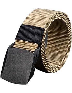 Cinturón de lona de los hombres al aire libre no de metal hebilla de plástico Casual Jeans entrenamiento de cintura...